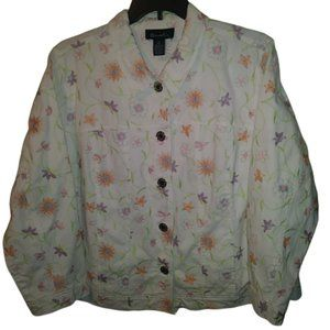 White With Pastel Embroidered Jean Jacket 2X